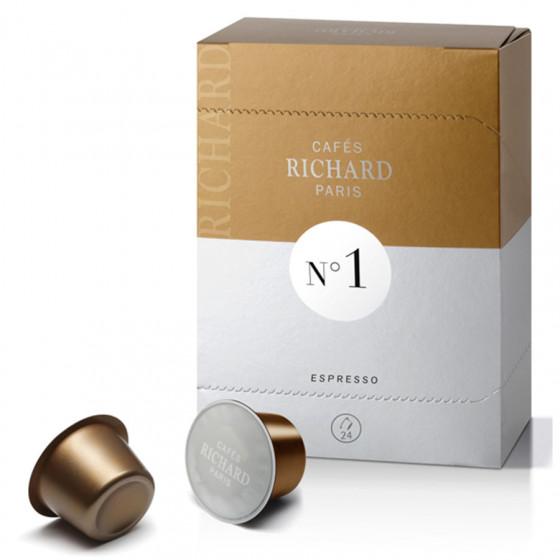 Étui de 24 capsules Richard Premium Espresso N°1 pour machine Ventura