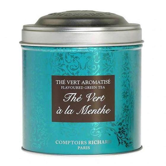 Thé vert aromatisé à la Menthe boîte métal vrac 80g