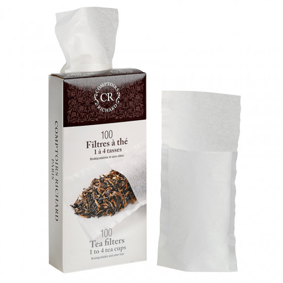 Filtres à thé papier biodégradables et sans odeur 1 à 4 tasses x100