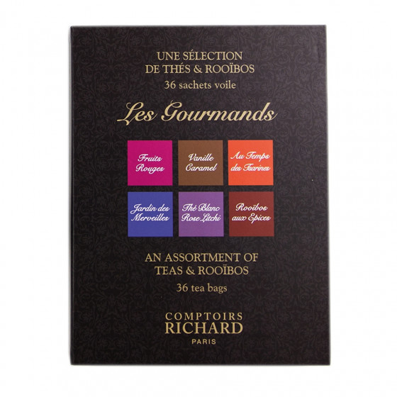 Coffret Les Gourmands Thés et rooïbos Comptoirs Richard x36 sachets voiles assortis suremballés
