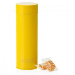 Boîte métal laquée à thé jaune garnie de pâtes de fruits mangue-passion 135g