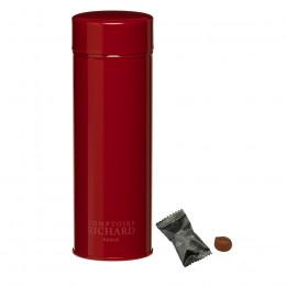 Boîte métal laquée à thé rouge garnie de truffes fantaisies suremballées 60g