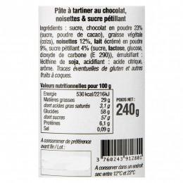 Pâte à tartiner chocolat, noisettes et sucre pétillant 240g
