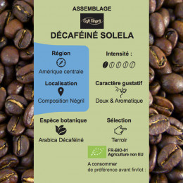 Café torréfié Décaféiné Solela pur arabica bio paquet 250g