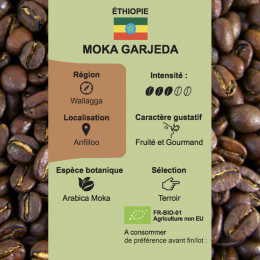 Café torréfié pur arabica bio Moka Gardeja d'Ethiopie paquet 250g