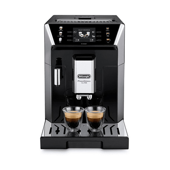 Robot café De'Longhi PrimaDonna et 3 paquets de 250g de café en grains et 2 verres expresso Cafés Richard 8cl