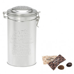 Boîte métal garnie de duo d'amandes au chocolat 250g