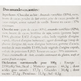 Duo d'amandes enrobées cacaotées suremballées 220g