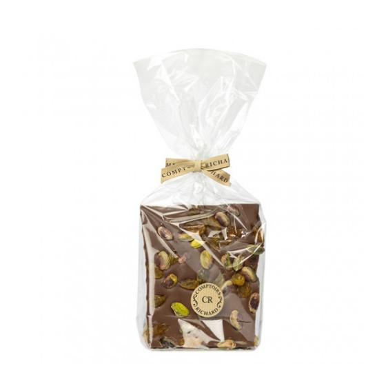 Trio de chocolats blanc, noir et lait agrémentés de fruits secs ou confits  250g